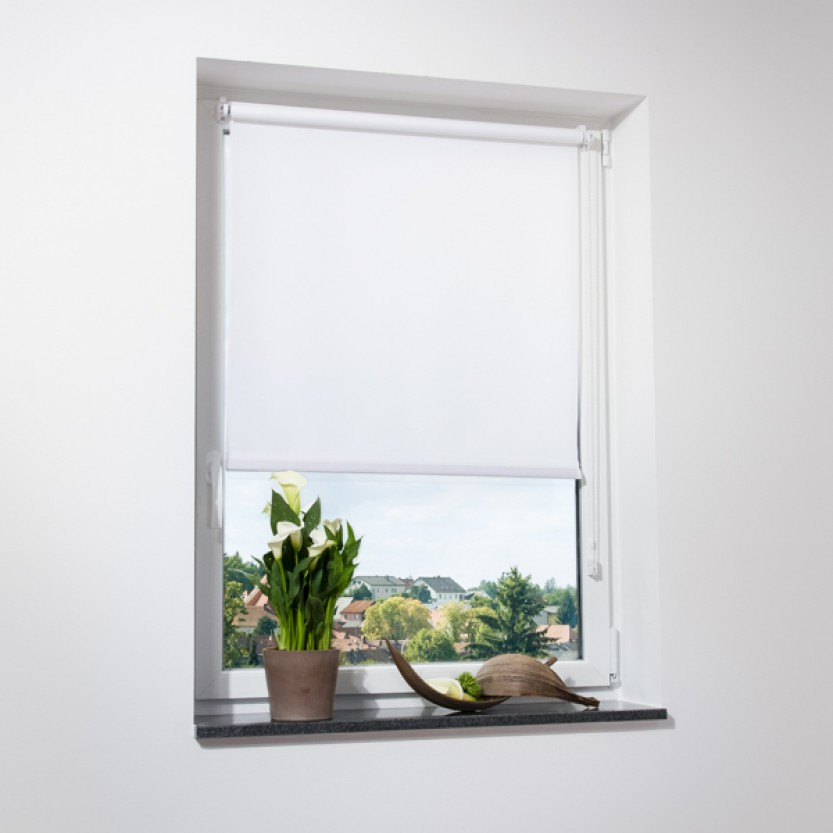 Fenster rollo strukturierter stoff wei viele gr en for Fenster shop